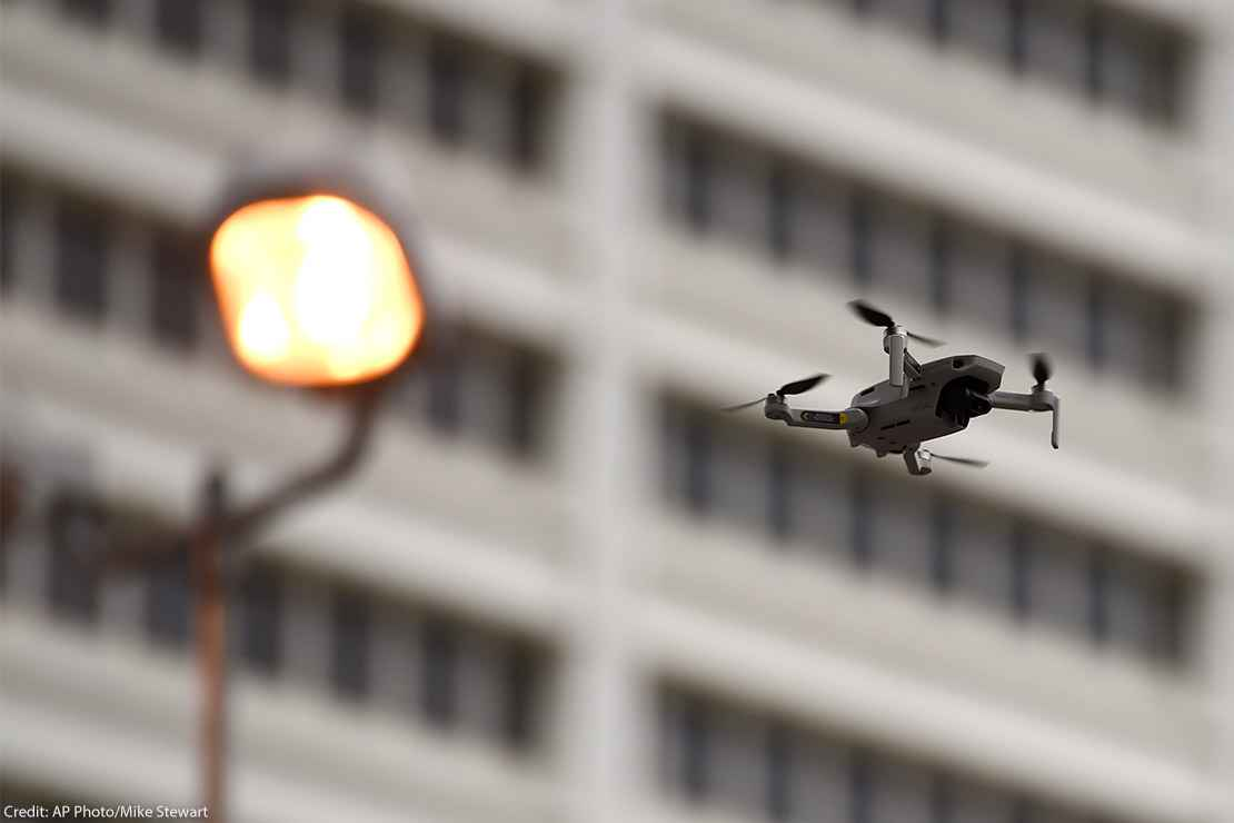 A law enforcement drone in flight.