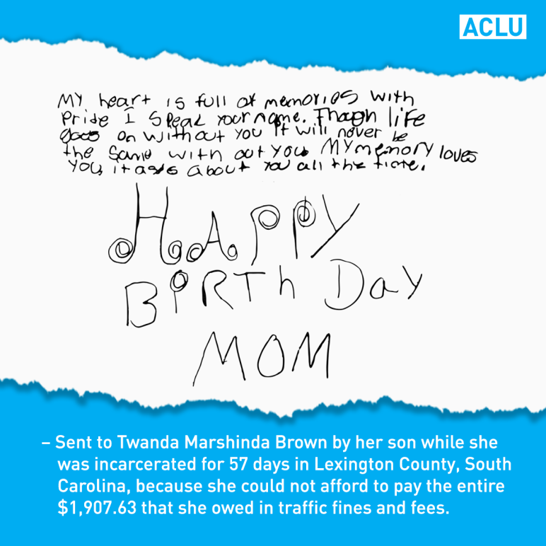 Birthday card for a mom who was imprisoned for failing to pay fines