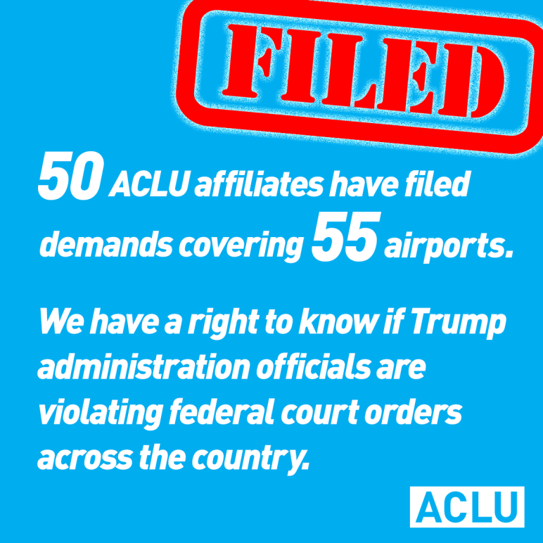 50 Affiliates filed FOIA Demands Covering 55 Airports