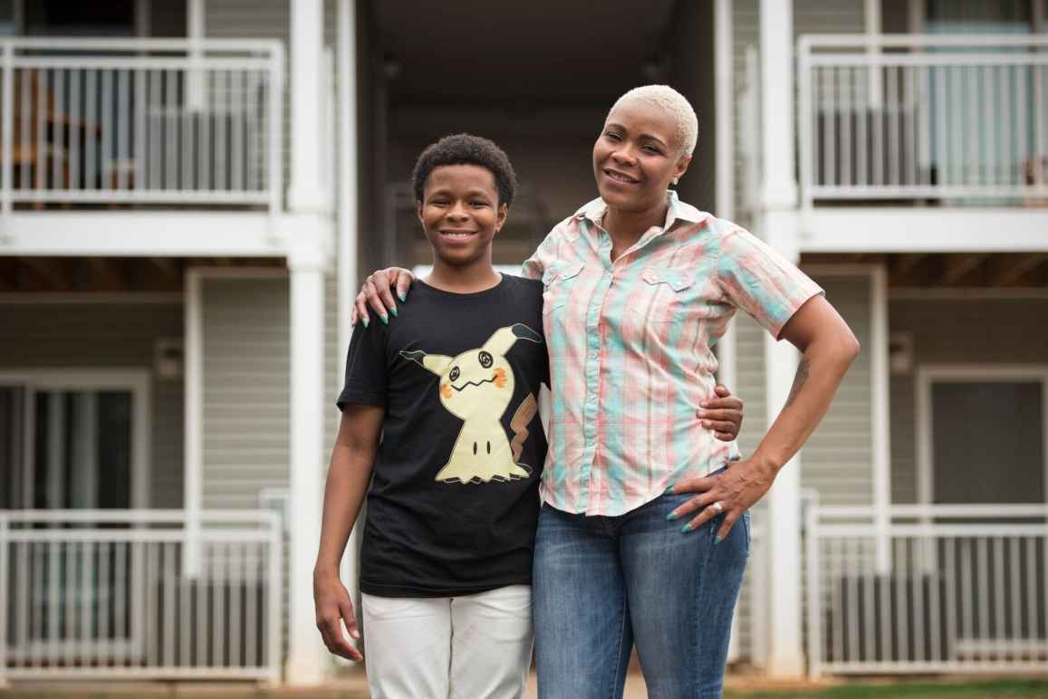 Plaintiff Marshinda Brown with her son.
