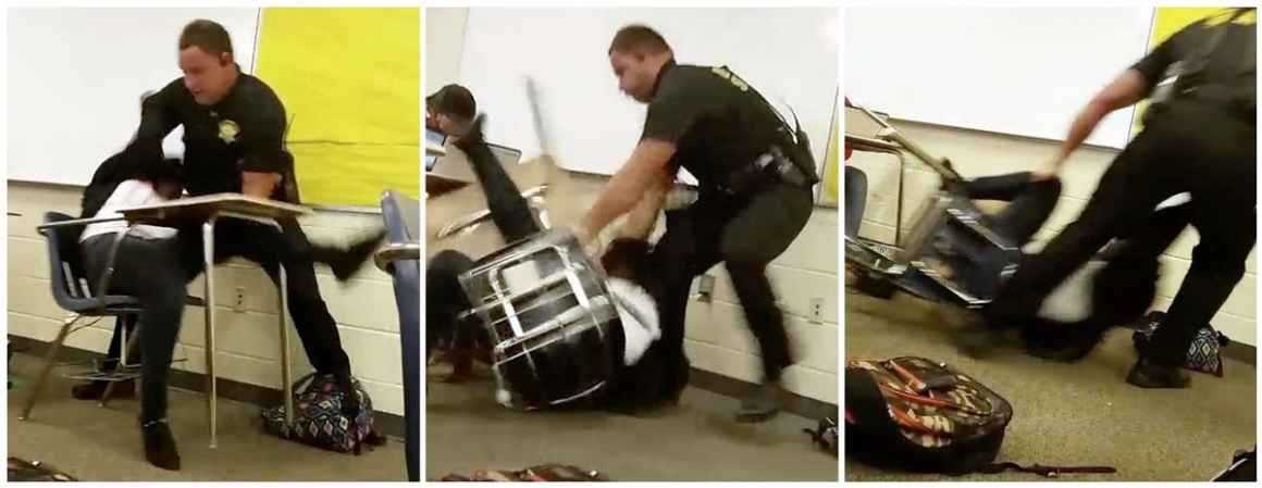screen-grabs of officer forcibly removing student from chair
