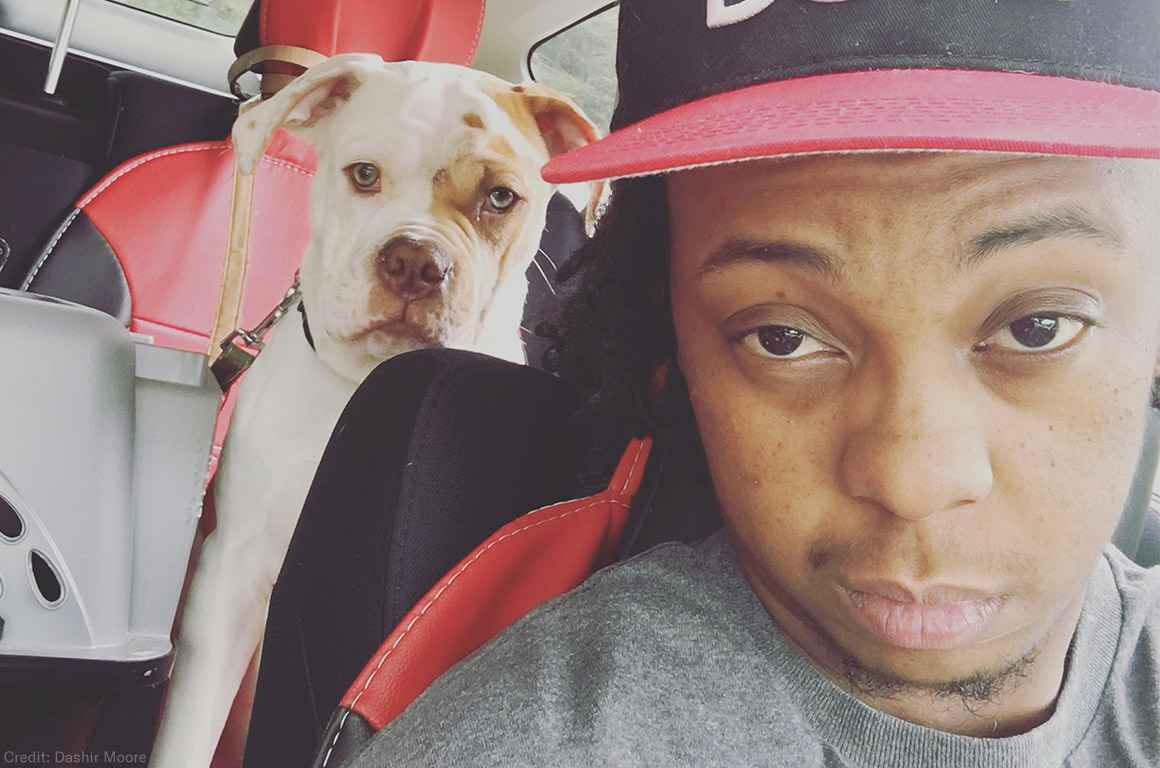 Dashir Moore and his dog, Dirty