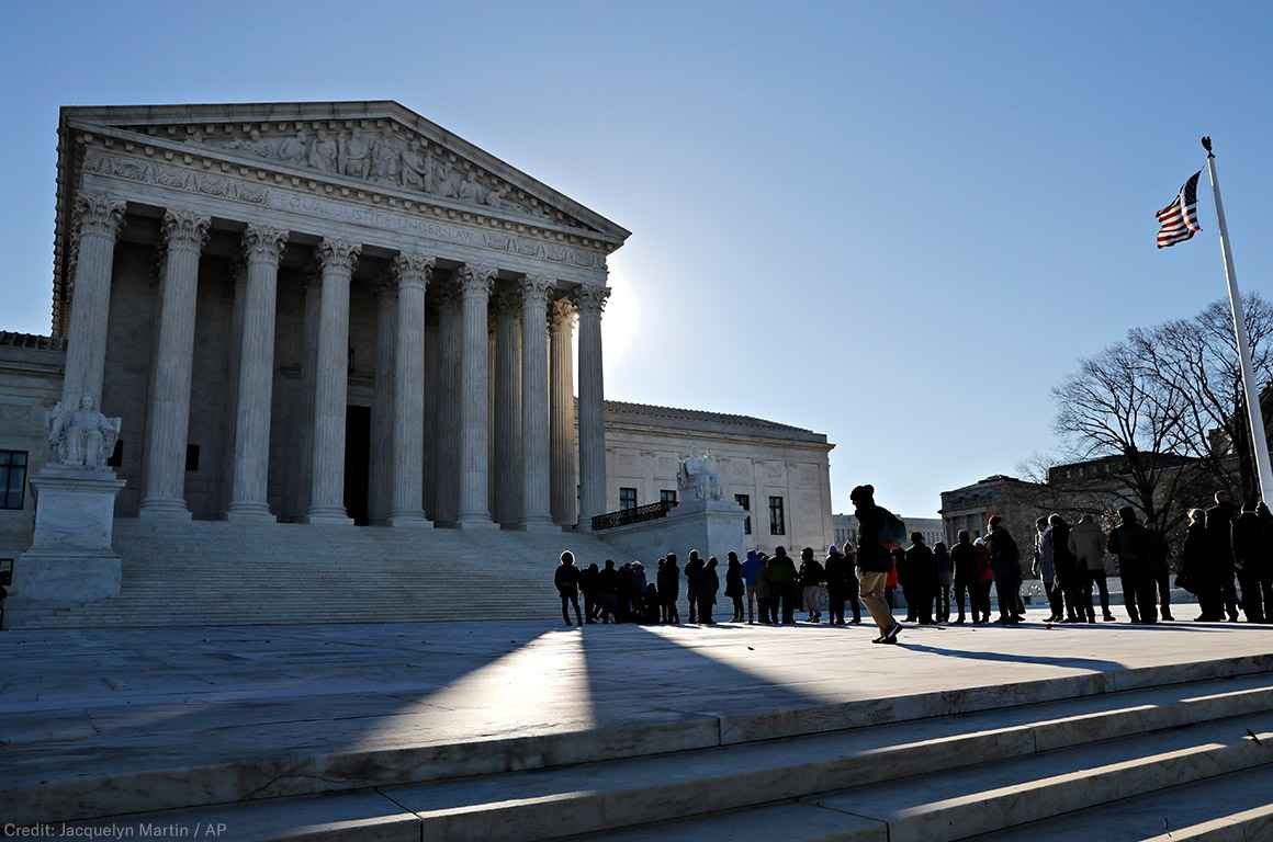 Line outside Supreme Court