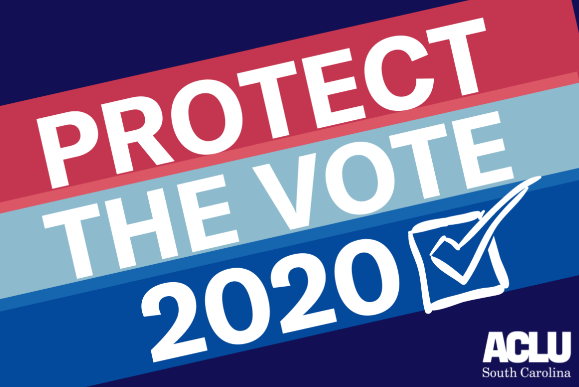 A navy blue background with red, light blue, and bright blue diagonal stripes. Text reads: Protect The Vote 2020. ACLU SC logo is in the bottom right corner.